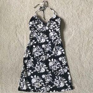 H&M Black and White Floral Halter Sundress Size 4